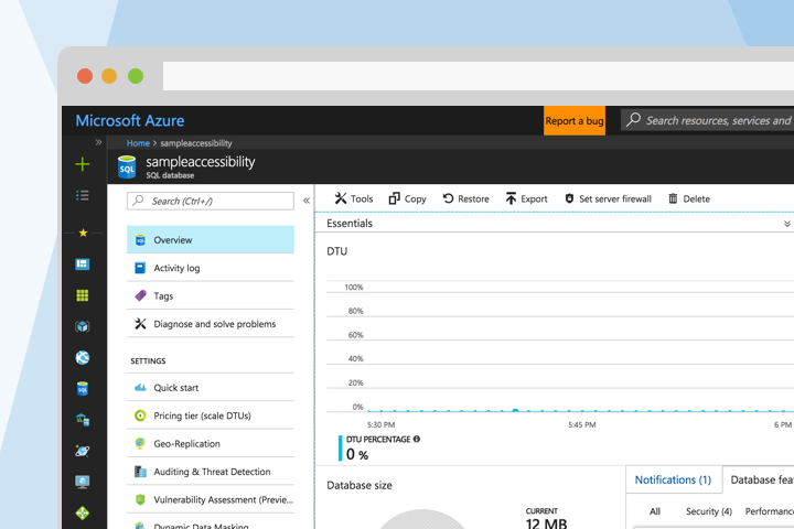 Azure SQL Database Overview Experience